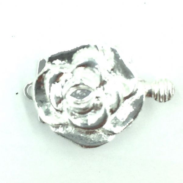 Silver plated flower sliding clasp 16mm single strand